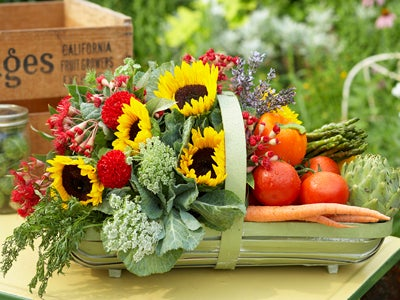 Flowers & Veggies in Basket