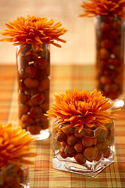Vase fille with Filberts & Mums for Thanksgiving decoration
