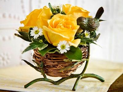 Roses in Birds Nest Dish