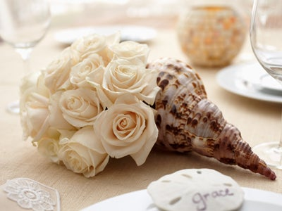 White Roses and Shell Place Setting