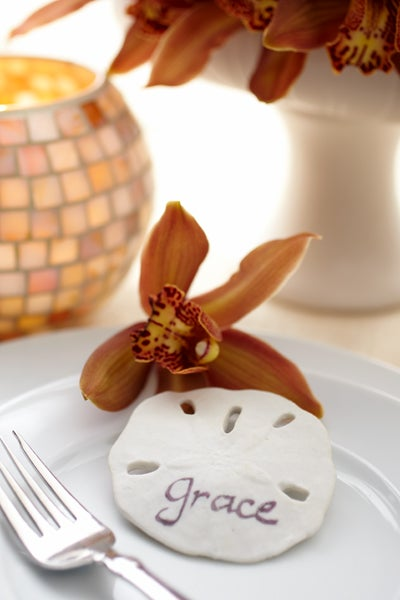 Cymbidium Orchid and Sand Dollar Place Setting