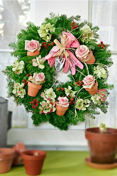 Pink Roses in Pots Wreath