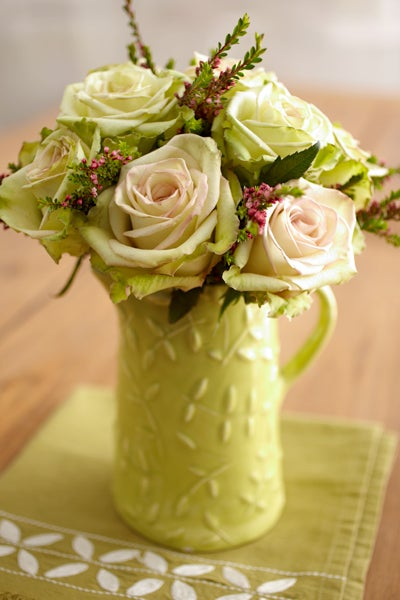 Green Porcelain Pitcher with Green Roses