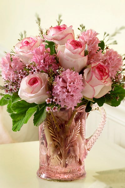 Clear Pink Pitcher With Pink Roses and Hydrangeas