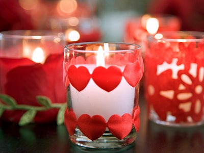 Homemade Candle Holder With Small Red Cut Hearts