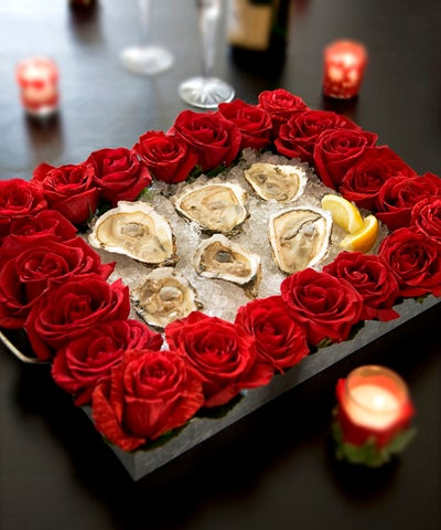Rose design around food as centerpiece for Valentines day
