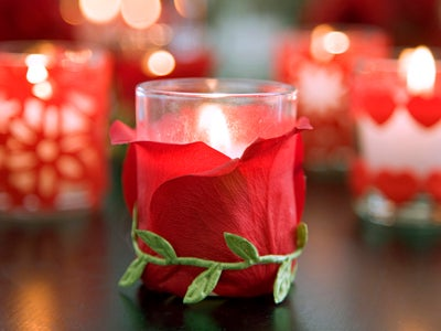 Homemade Candle Holder with Rose Petal Wrapped Around It