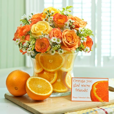Orange Roses and Orange Slice Bouquet