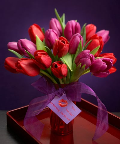 Purple and Red Tulip Bouquet