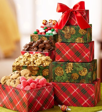 Pinecones & Plaid Festive Sweets Gift Tower