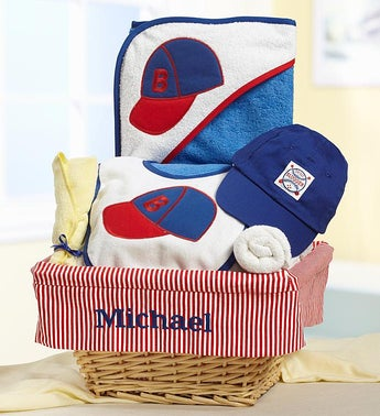 Personalized Baby Boy Little Slugger Gift Basket