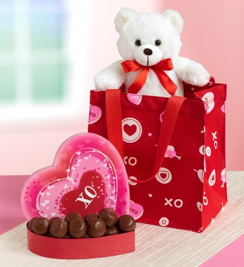 True Love Teddy & Chocolates in Tote