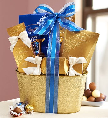 Golden Lindt® Chocolates Gift Basket