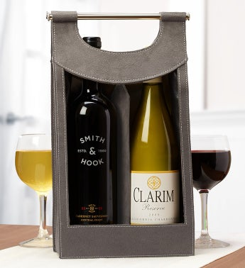 Cabernet & Chardonnay Silver Wine Gift Tote