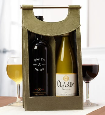 Cabernet & Chardonnay Olive Green Wine Gift Tote