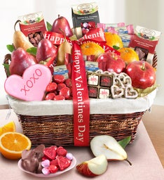 Happy Valentine's Day Deluxe Fruit & Sweets Basket