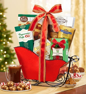 Festive Red Sleigh Gift Basket