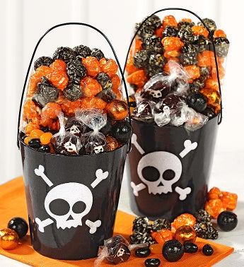 Popcorn Factory® Skulls Glitter Pails set of 2