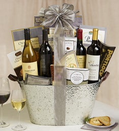 Silver Celebration Gourmet Wine Basket