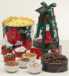 The Popcorn Factory Winter Floral Tin & Tower