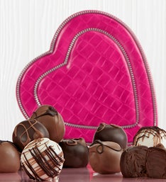 Sweet Shop® Truffles in Pink Moc Croc Heart Bx