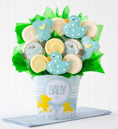Cheryl's Baby Boy Cookie Flower Pot - 12ct