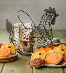 Cheryl's Wire Chicken Basket with Assorted Cookies
