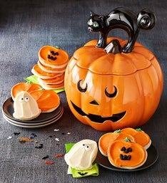 Cheryl's Jack O Lantern Cookie Jar with Treats