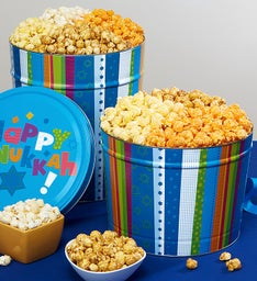 Popcorn Factory Happy Hanukkah Tin - 3 Way 3.5G