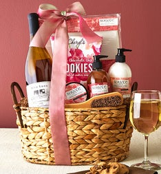Cherry Blossoms Spa Gift Basket with Wine