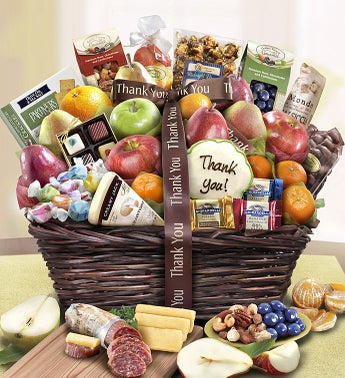 Thank You Fruit  Sweets Gift Basket Deluxe