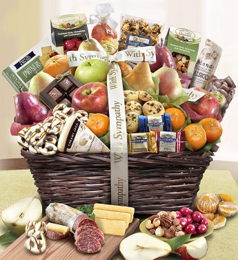 With Sympathy Fruit  Sweets Gift Basket