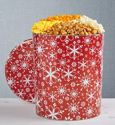 The Popcorn Factory Snowflake Popcorn Tin