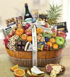 With Sympathy Fruit  Sweets Gift Basket Grande