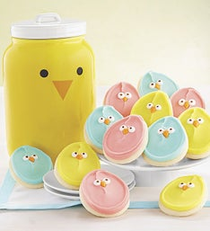 Cheryl's Spring Chick Face Mason Cookie Jar