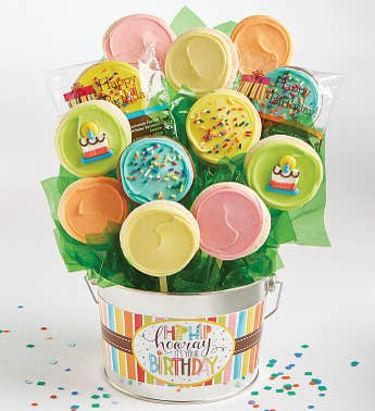 Cheryl's Hip Hip Hooray Birthday Cookie Flower Pot