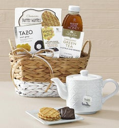 Wintry Warmer Tea Gift Basket with Teapot