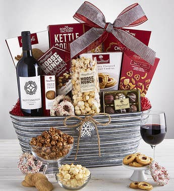 Sparkling Snow Sweets  Merlot Wine Basket