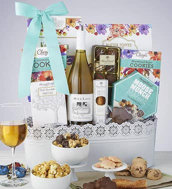 Full Bloom Sweets & Chardonnay Wine Basket
