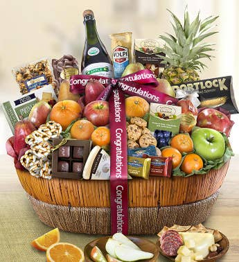 Congratulations Fruit Sweets Gift Basket