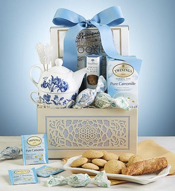 Teatime Gift Basket with Tea for One Teapot