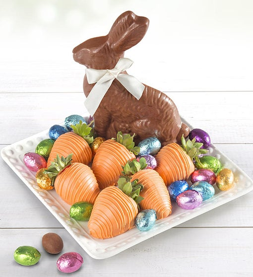 Easter Chocolate Bunny, Eggs and Berries