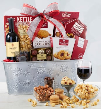 Sparkling Snow Sweets & Wine Basket