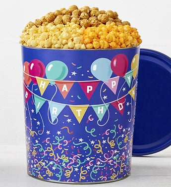 The Popcorn Factory Birthday Balloons 3 Flavor Tin