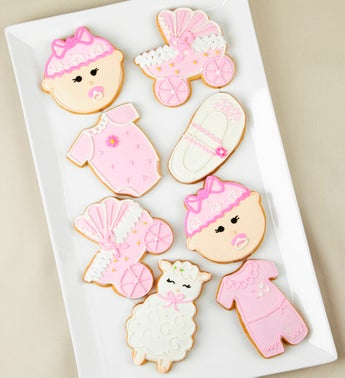 Welcome Baby Girl Artisan Iced Cookies