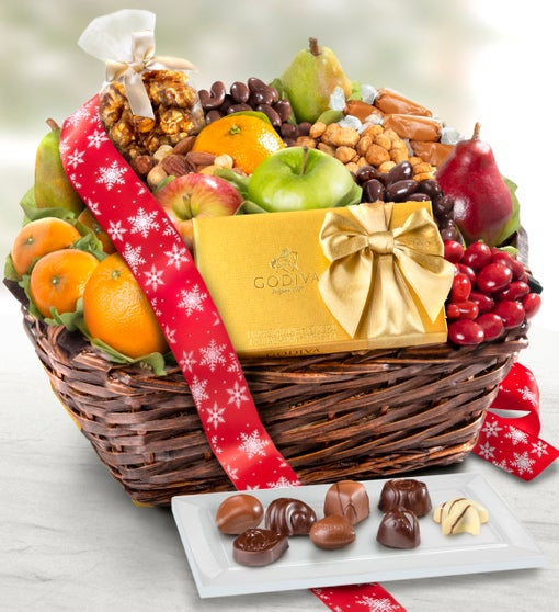 Exclusive Godiva, Fruit, & Sweets Holiday Basket