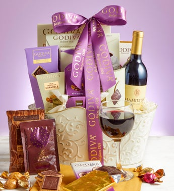 Godiva Sweets Basket with Wine