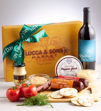 Fathers Day Sausage  Cheese Box with Wine