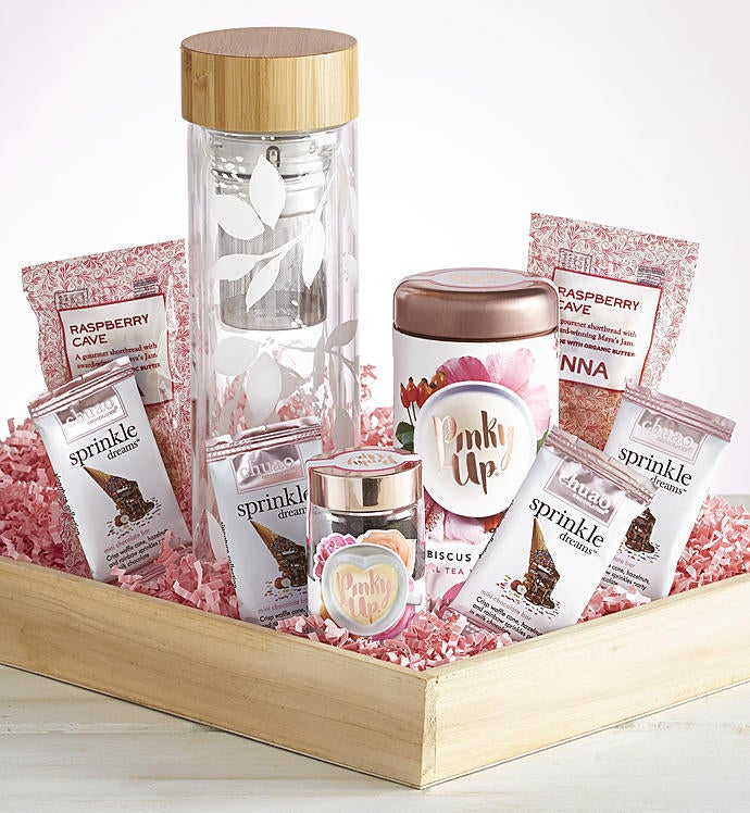 Glass Tea Infuser with Treats Gift Crate & Coffee Gift Baskets | Tea Baskets for Delivery | 1800Flowers