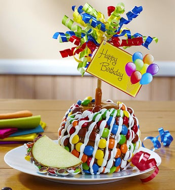 Happy Birthday Caramel Apple with Candies